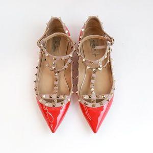 Valentino Red Cage Rockstud Ballerina Flats